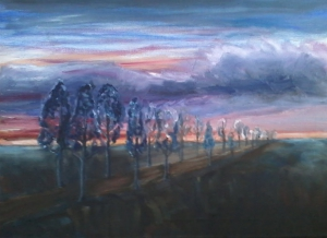 Painting of a line of trees with blue purple clouds and sky