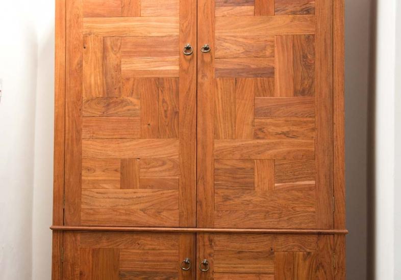 Wardobe made from teak parquet timber