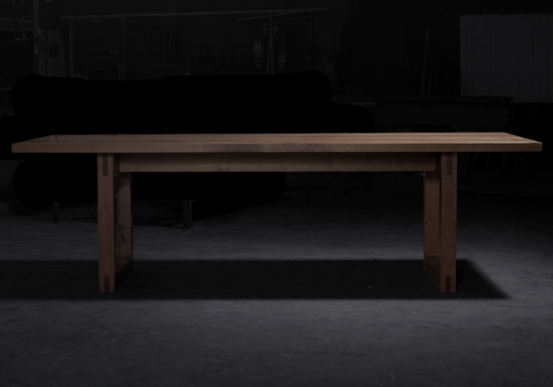 Bemu linear cedrela wooden table with exposed joinery