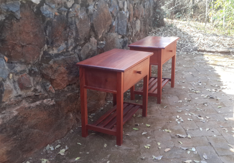 Small bedside tables in cedrela timber