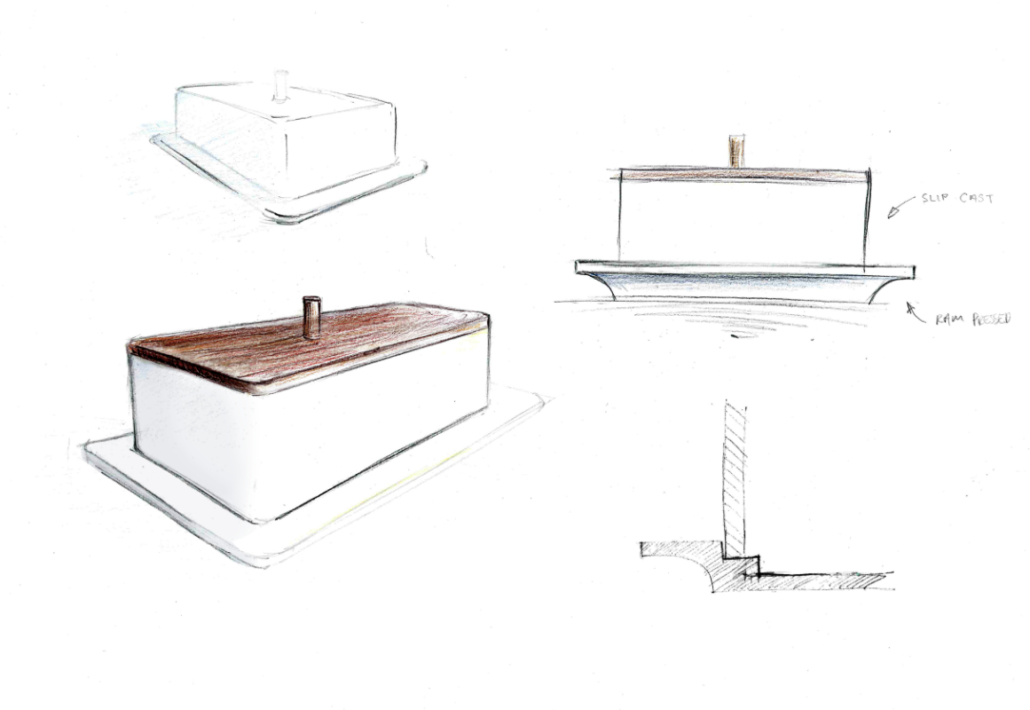 Illustration of white cermic butter dish with a thin wooden top and handle by Bemu