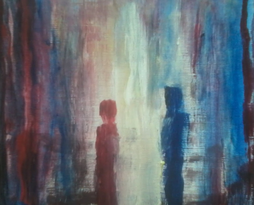 Acrylic semi abstract painting of one red figure and one blue figure with a multicolored background