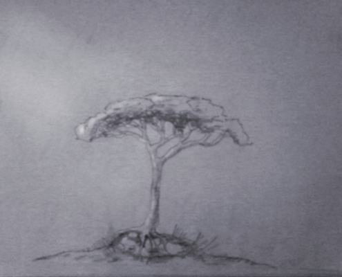 Pencil sketch of a masasa tree with a grey blue background