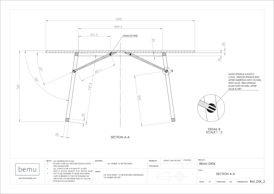 Engineering orthographic drawings of Bemu Desk