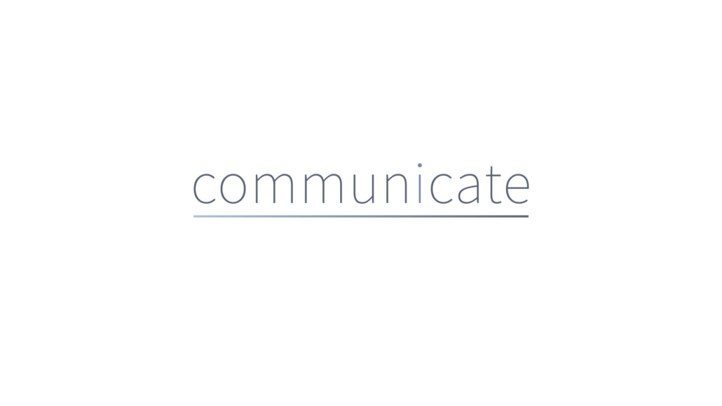 communicate logo in light font and thin gradient below
