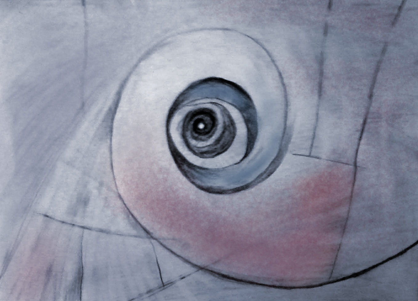 Abstract artwork showing a spiral out of pencil and digital color