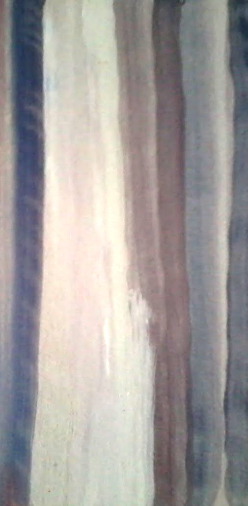 Painting of vertical white blue and brown colours