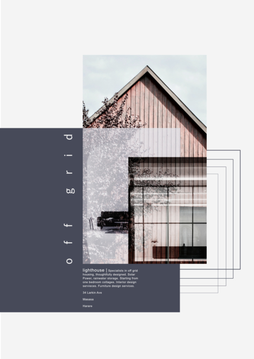 Poster illustrating designer off grid architecture and furniture